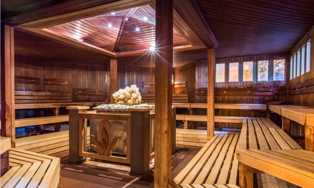 Die Sauna des Palm Beach in Stein in der Nähe von Nürnberg.