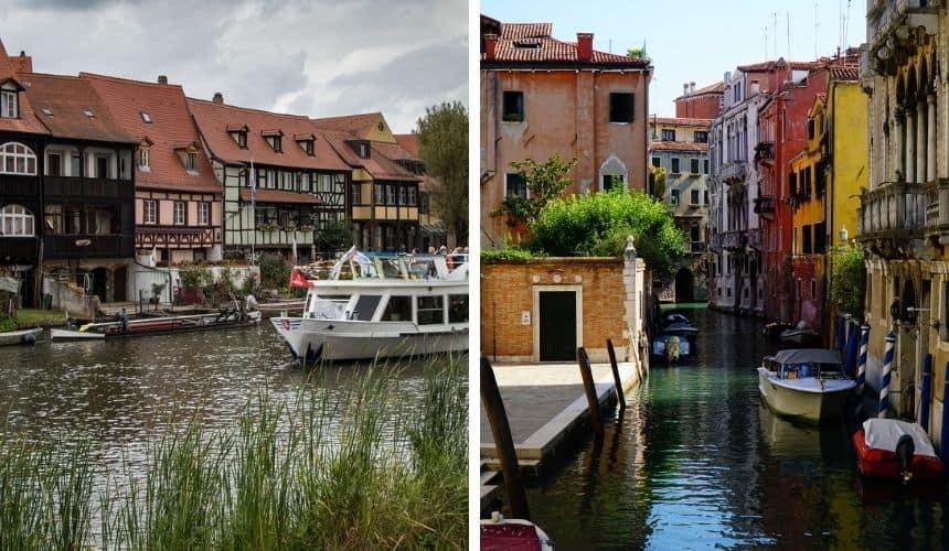 Klein Venedig und das große Venedig auf einem Bild.