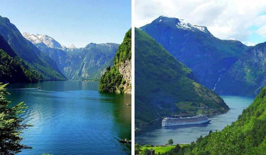 Der Königssee und norwegische Fjorde.